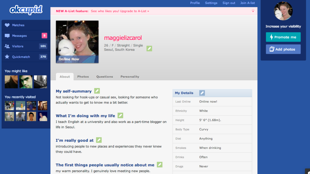 Okcupid profile template