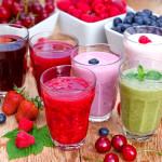 Organic smoothies, fruit yogurt and juices