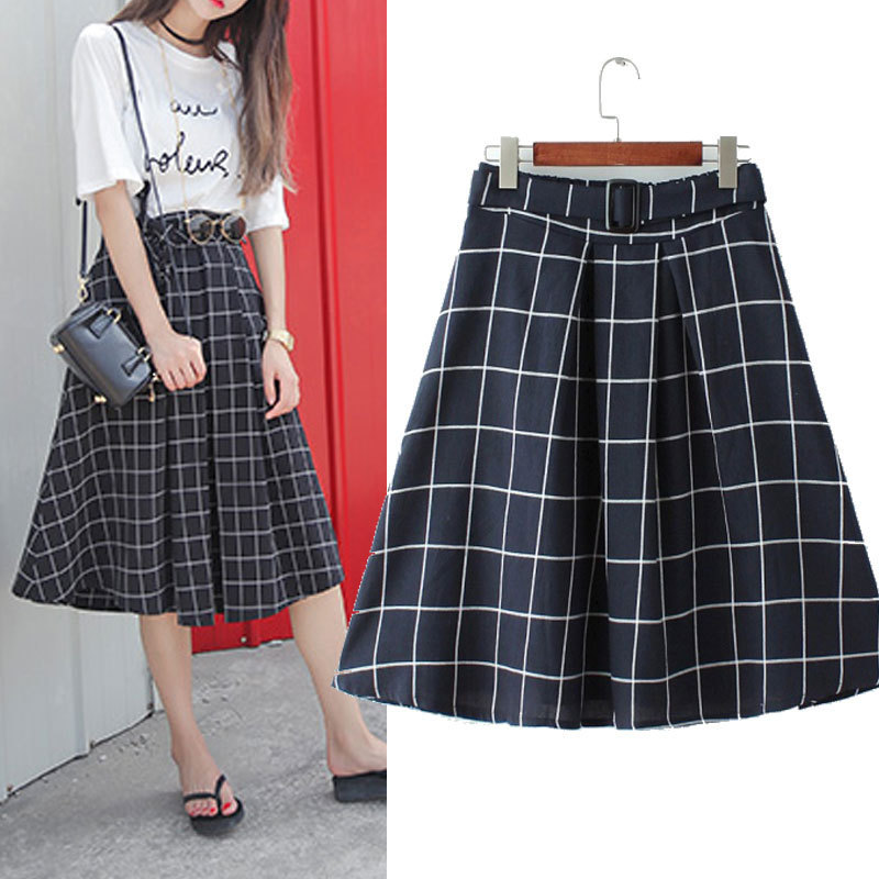 Fashion-Style-Women-s-Plaid-A-Line-font-b-Skirts-b-font-New-Black-Long-font
